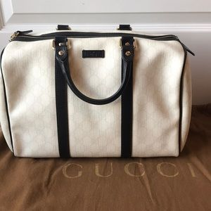 Gucci Boston White Handbag with black leather trim